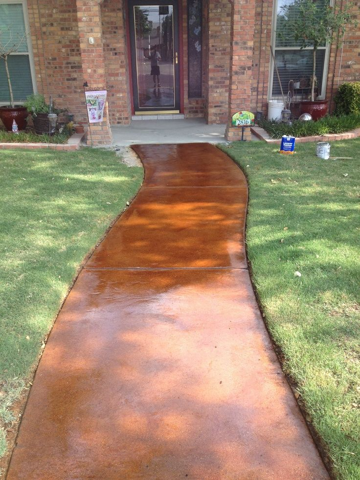 Amazing Brick Concrete Walkway Design Front Of House Part - 12: Stained Concrete Walkway