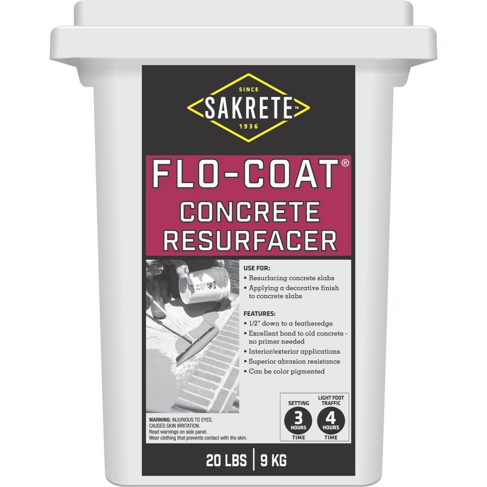 Sakrete 20 Lb Flo Coat Resurfacer 65450007 The Home Depot In 2020 Concrete Resurfacing Concrete Floor Repair Concrete Floors Diy