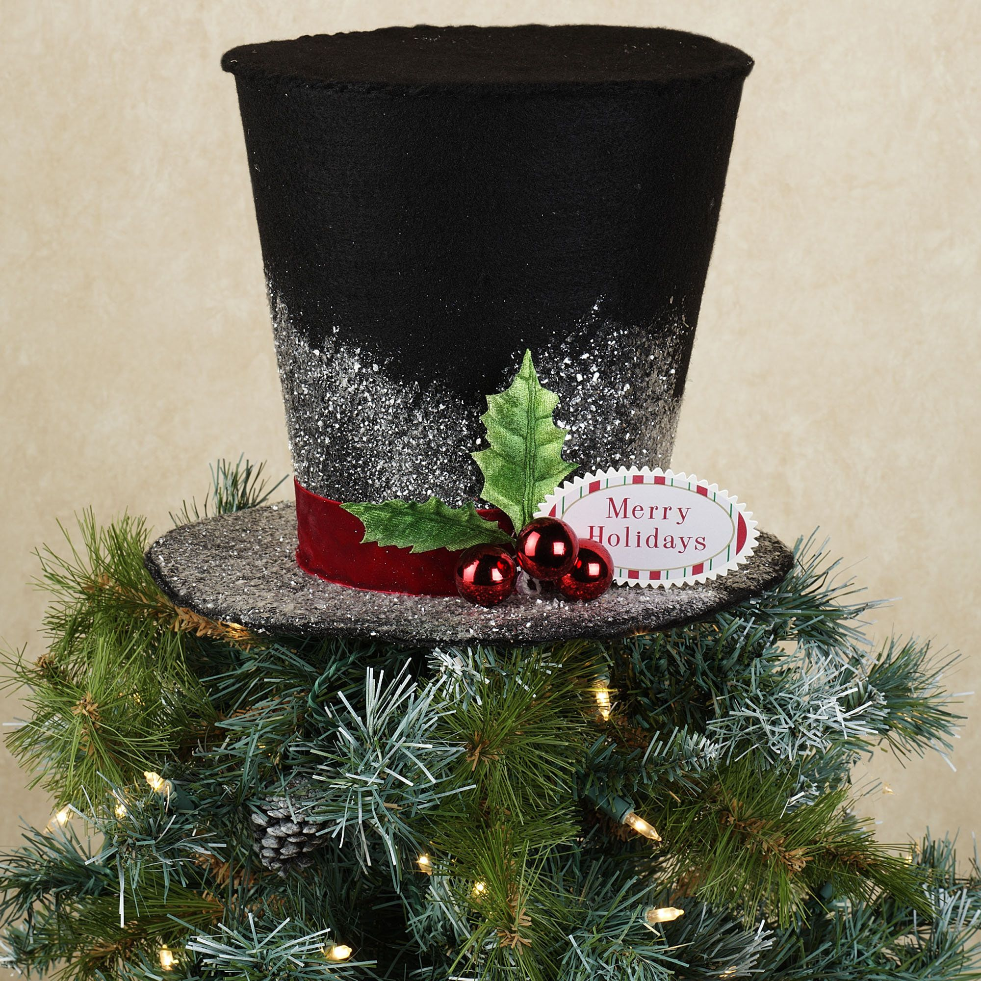 Holiday Top Hat Christmas Tree Topper  Perhaps In Keeping With A Victorian  Theme?