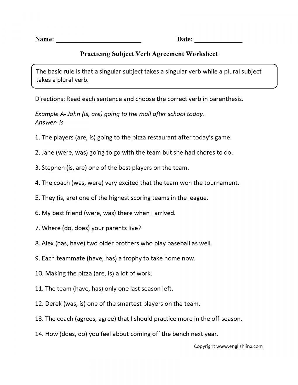 11 8th Grade Subject Verb Agreement Worksheet Verb Worksheets Subject Verb Agreement Subject And Verb