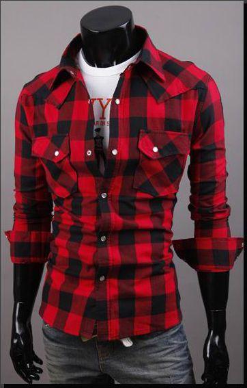 Stylish Shirt Collar Classic Big Check Polyester Spring Shirt For Men (BLACK,M) | Sammydress.com