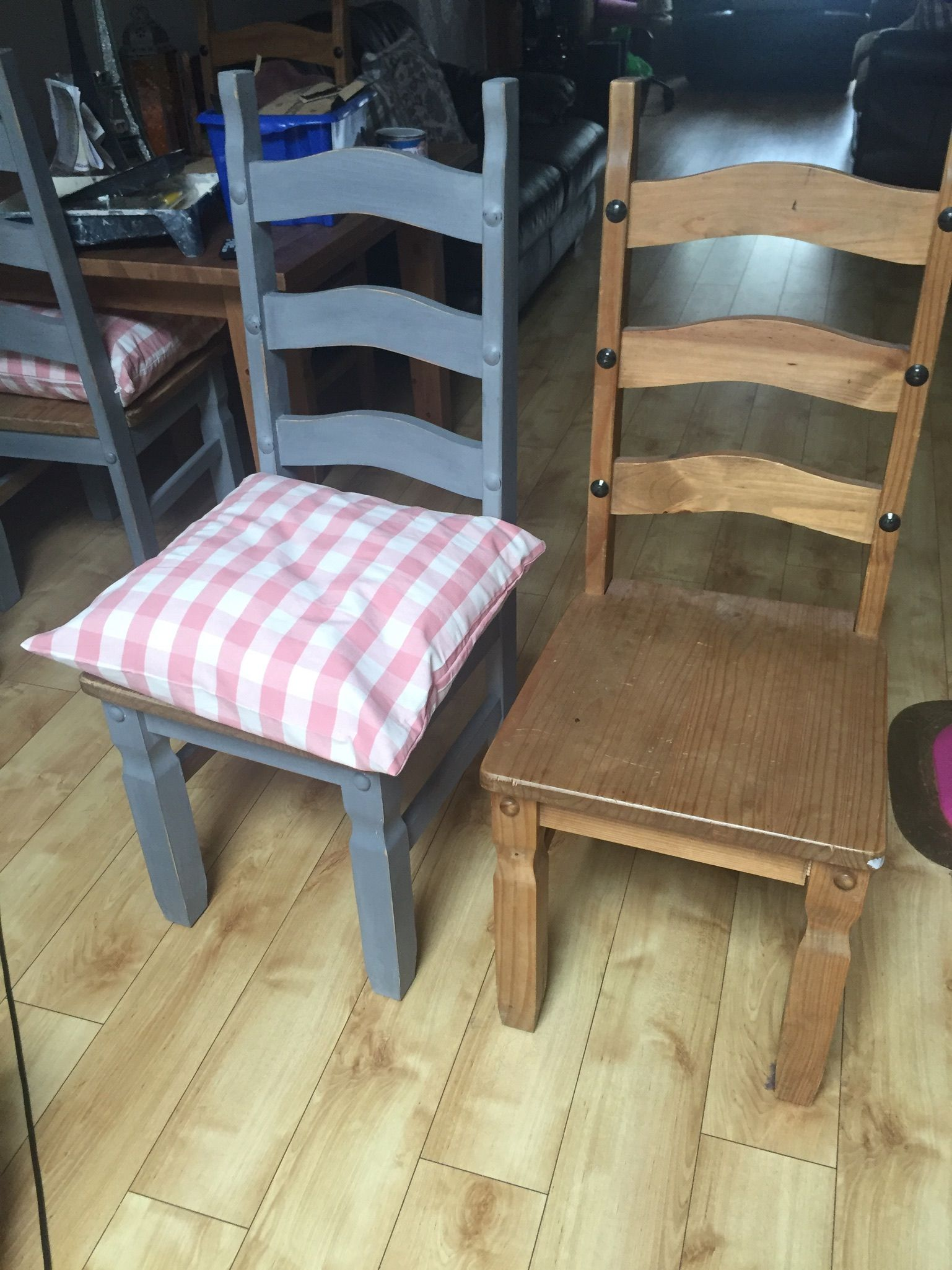 Chair upcycle chalk paint and a new ikea cushion (With