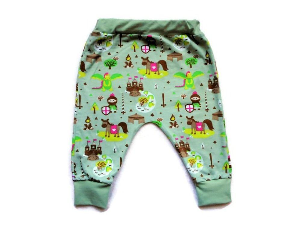 e36a7152ad11f Sarouel Garçon Bébé 12 mois Chevaliers et Dragons Pantalon Jersey Coton  Biologique Vert Menthe
