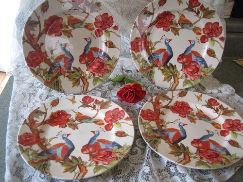 "Peacock Rose Andrew Tanner Royal Stafford 11"" Dinner Plates- Set of 4"