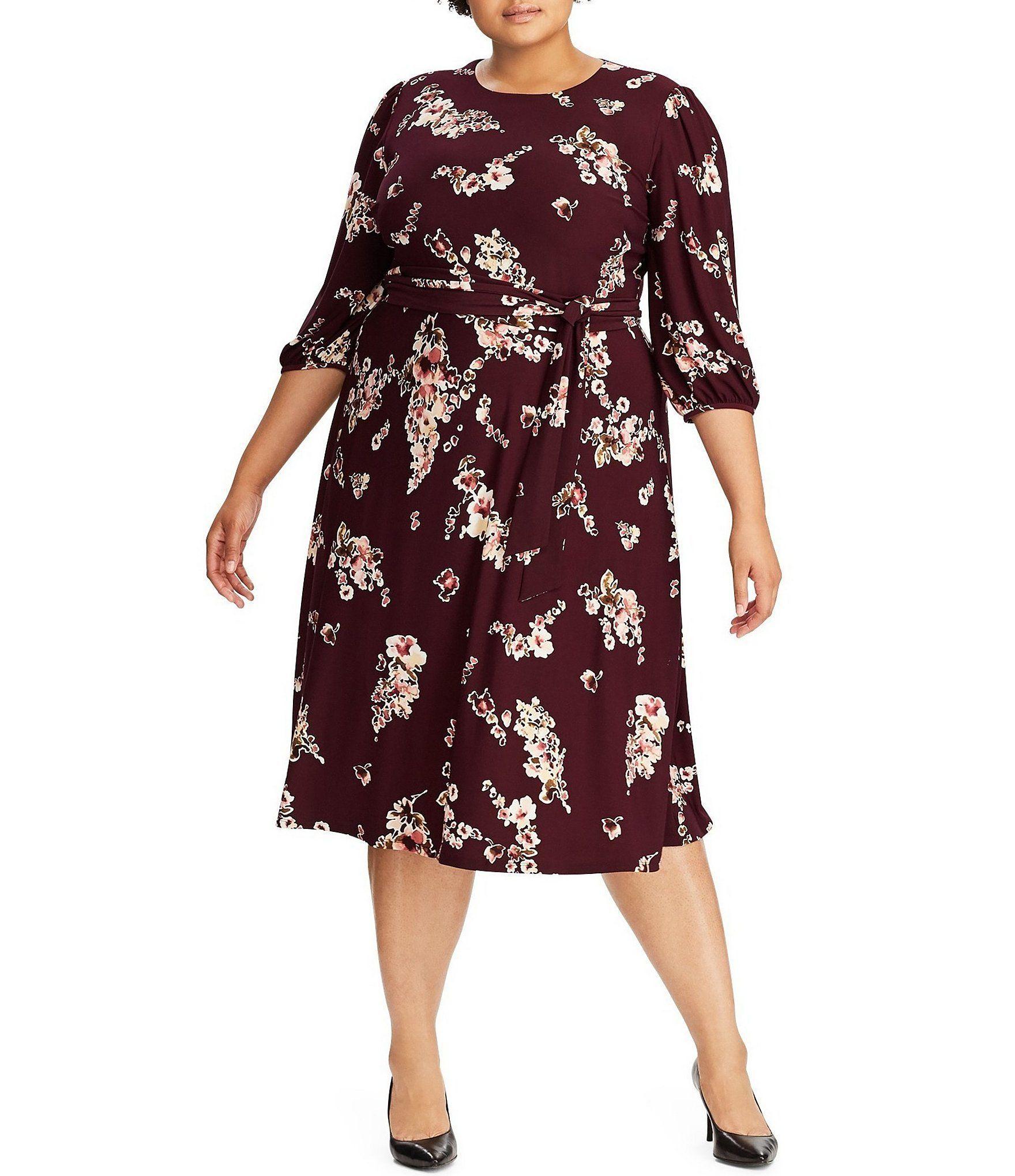 Lauren Ralph Lauren De Tamano Mas Felia De La Impresion Floral De Lazo En La Cintura Jersey Vestido Midi Ciruel Modelos De Vestido Vestidos De Novia Vestidos