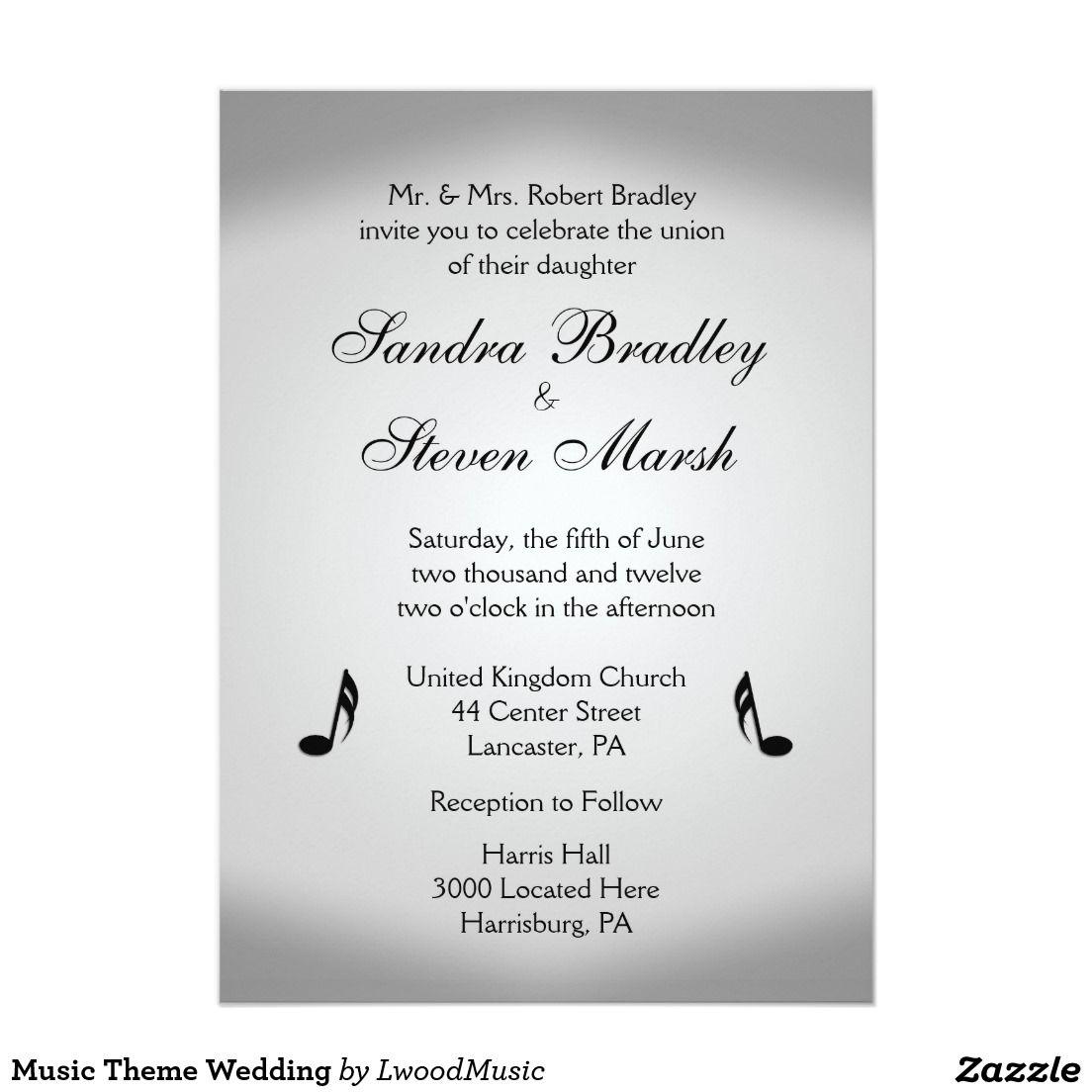 Silver Music Wedding Theme Invitation | Music wedding themes ...
