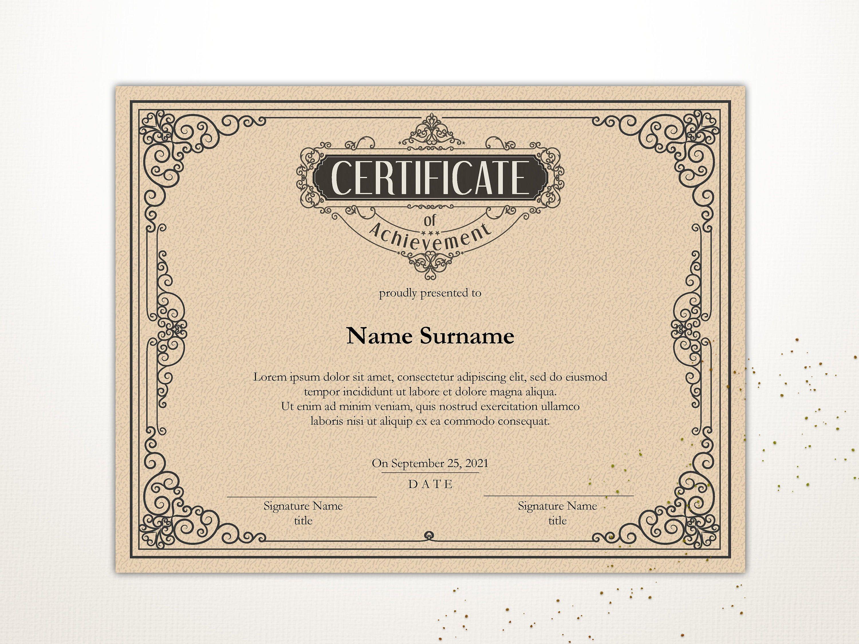 Vintage Certificate Of Achievement Editable Certificate Etsy Certificate Of Achievement Certificate Templates Editable Certificates