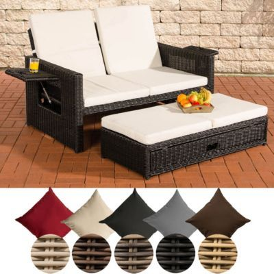 Poly-Rattan 2er Lounge-Sofa ANCONA, Geflecht RUND, ALU-Gestell - gartenmobel lounge rund