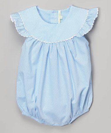 a016604fb Another great find on #zulily! Blue Polka Dot Angel-Sleeve Bubble Romper -  Infant & Toddler #zulilyfinds