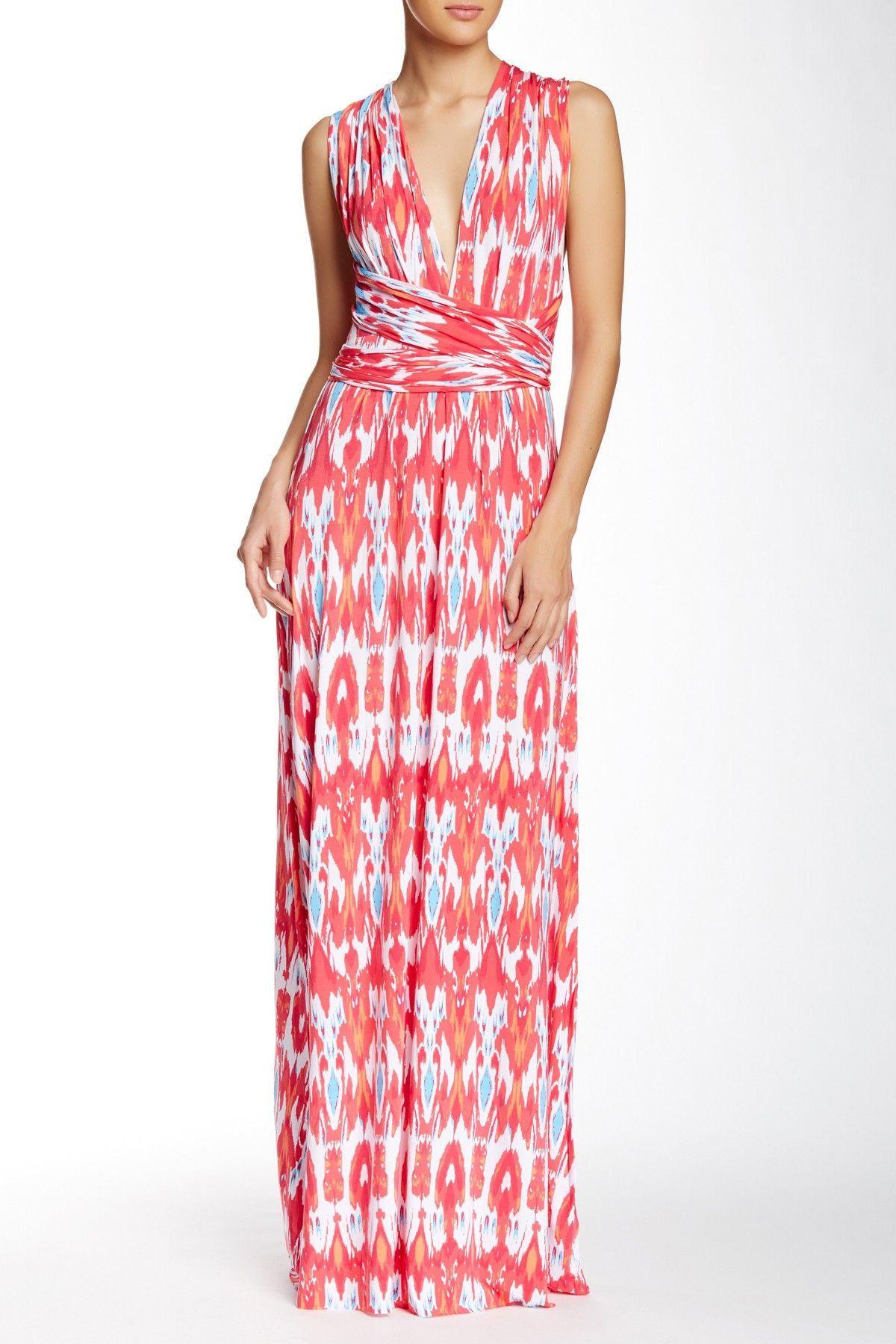 Tart Pleated Ikat Maxi Dress L Island Stripe