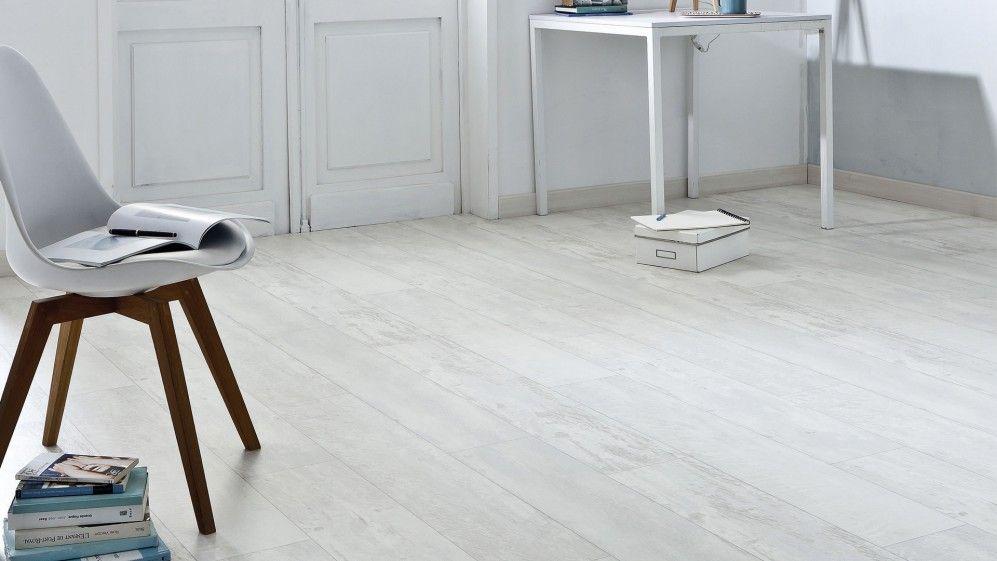 Sol vinyle Imitation parquet usé blanc texline 4m cuba white ...