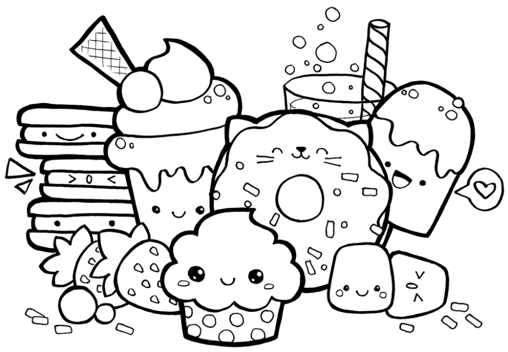 Cute Kawaii Food With Faces Coloring Page In 2020 Puppy Coloring Pages Candy Coloring Pages Unicorn Coloring Pages