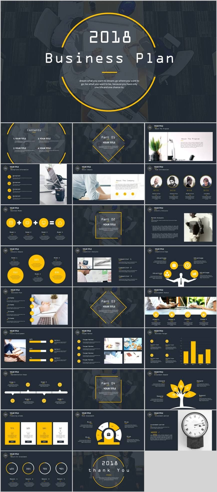 Clean simple business plan PowerPoint template Pcslide