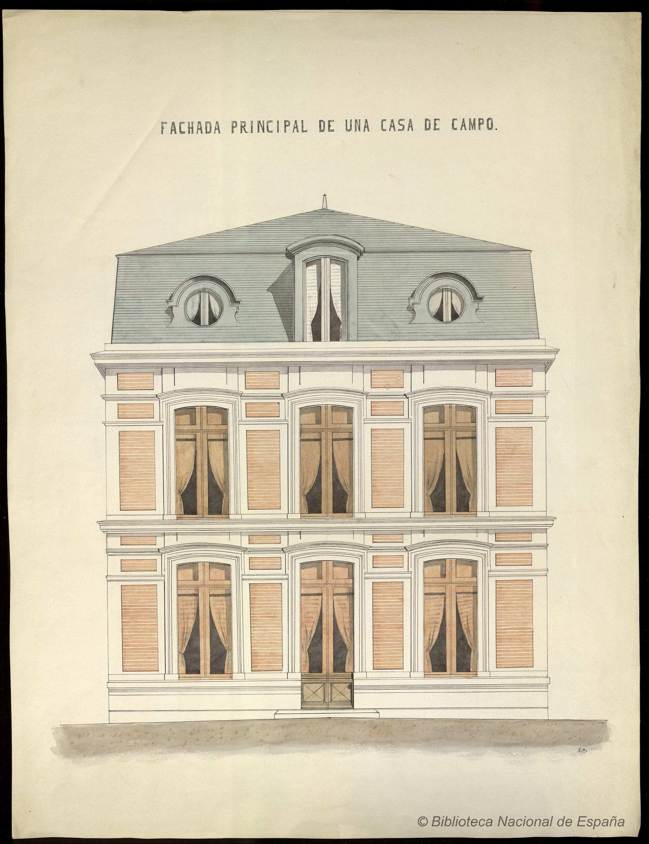 Fachada principal de una casa de campo hartzenbusch eugenio 1840 1910 dibujo 1800 1899 - Fachada de una casa ...