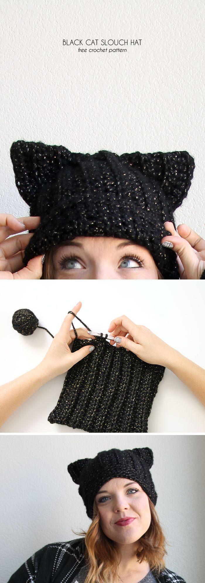 Black Cat Slouch Hat - Free Crochet Cat Hat Pattern | Gorros, Tejido ...