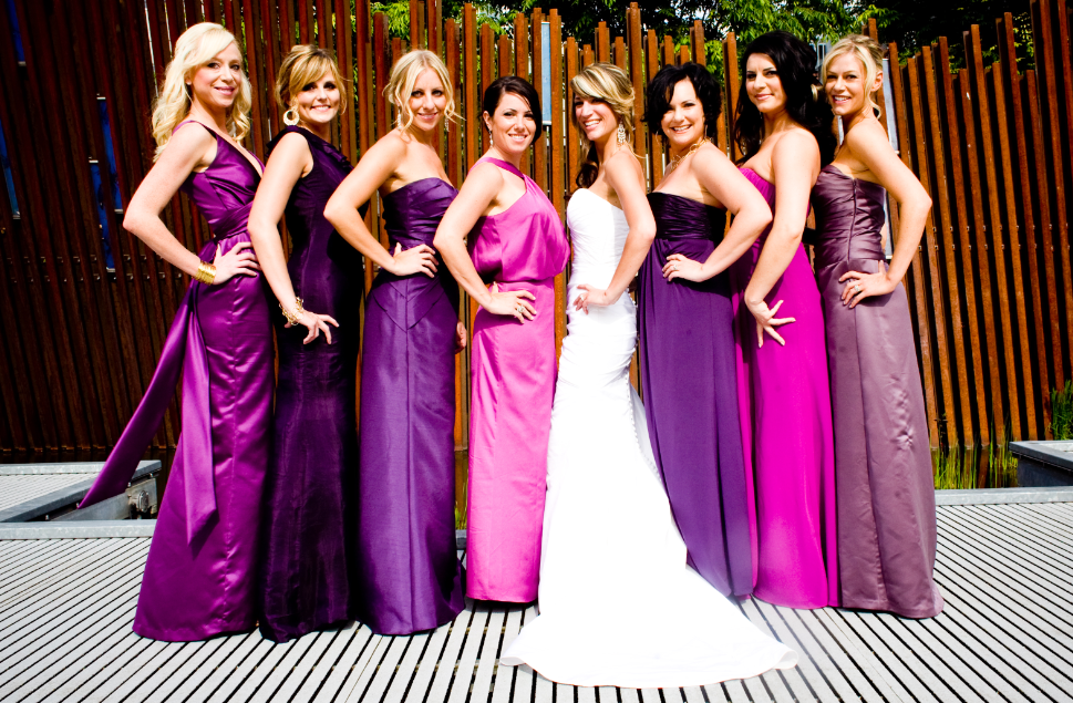different shades of plum and burgundy bridesmaid dresses | my ...