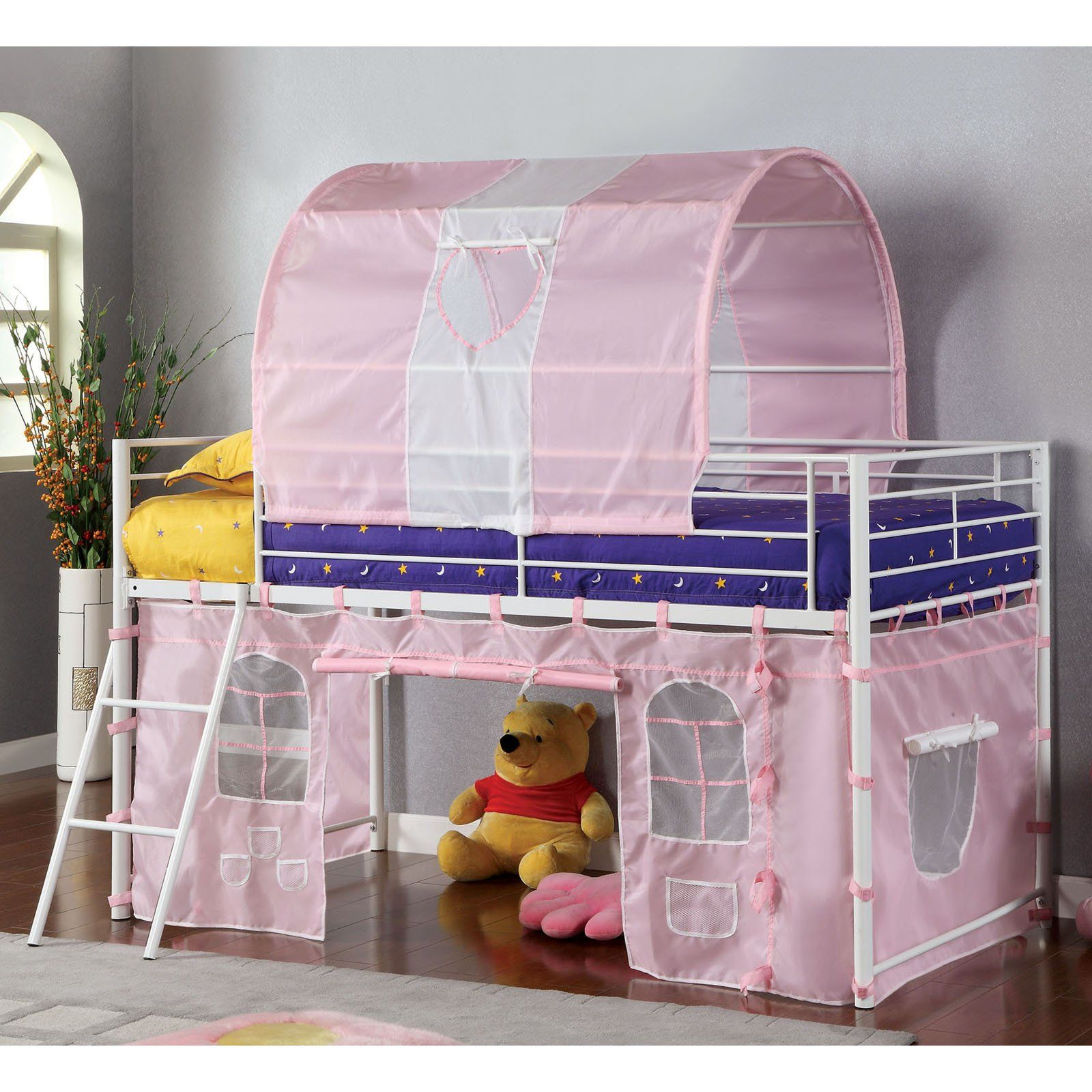Kimmie Collection Twin Loft Bed with Pink Tent in 2019