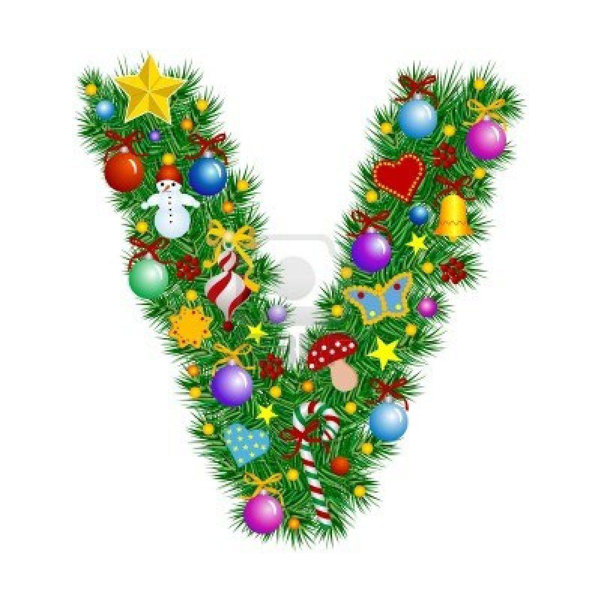 Letter V - Christmas Tree Decoration