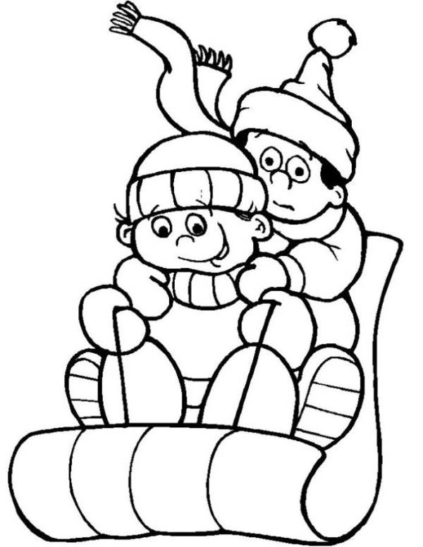 Sledding On Snow Winter Coloring Pages Coloring Pages Winter