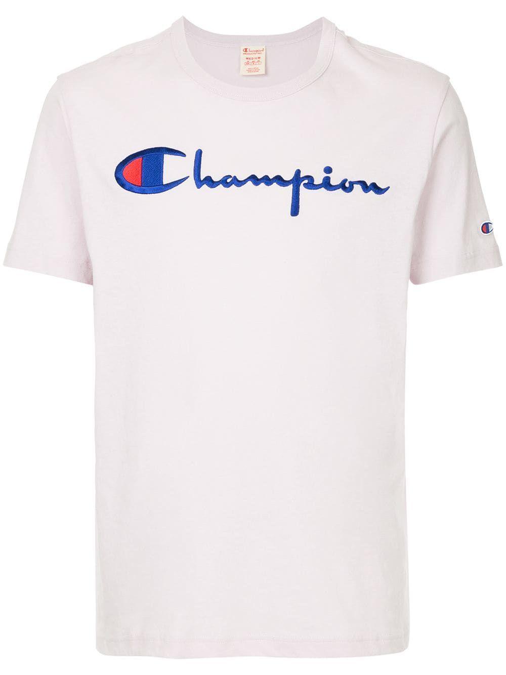 58783623 CHAMPION CHAMPION LOGO EMBROIDERED T-SHIRT - PINK & PURPLE. #champion #cloth