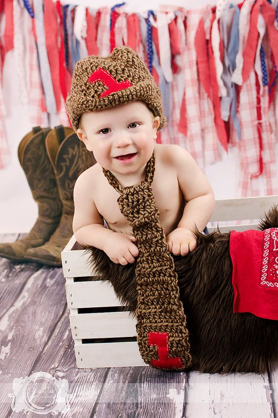 Boys 1st Birthday Outfit Cowboy Hat And Tie By ChiclyHooked FirstBirthday Photography Boy Fashion Baby Theme Ideas CakeSmash Smashcake