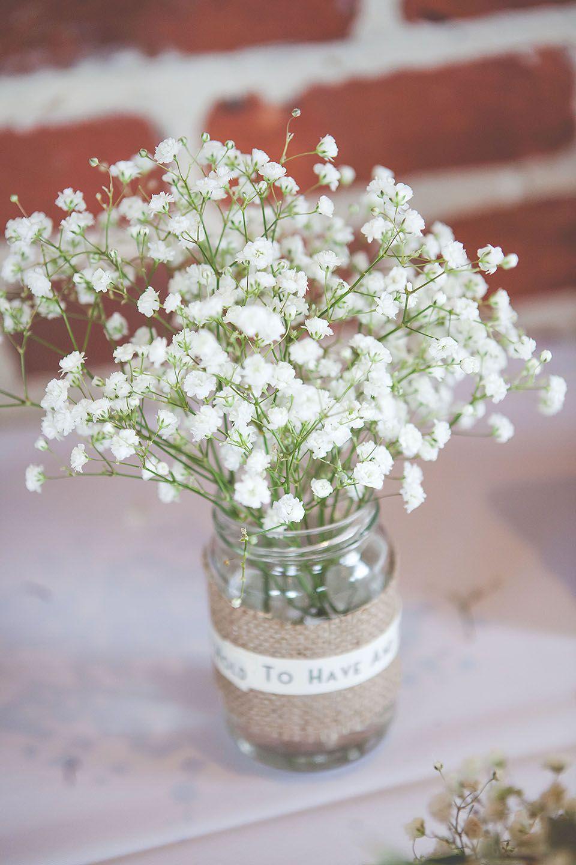 Burlap Wedding Jam Jars Gypsophila Wedding Flowers
