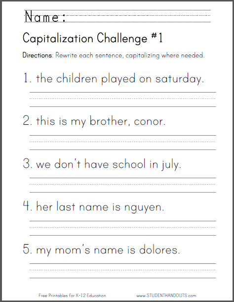 free printable capitalization challenge worksheet language arts resources first grade. Black Bedroom Furniture Sets. Home Design Ideas