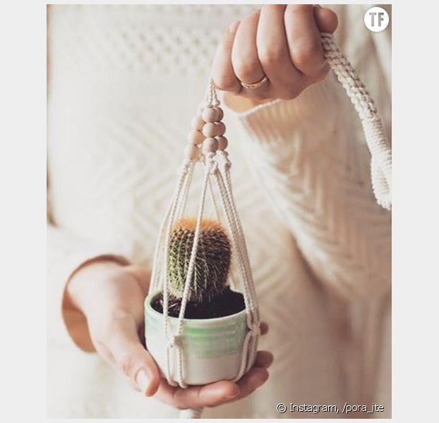 diy comment fabriquer une suspension pour plante en. Black Bedroom Furniture Sets. Home Design Ideas