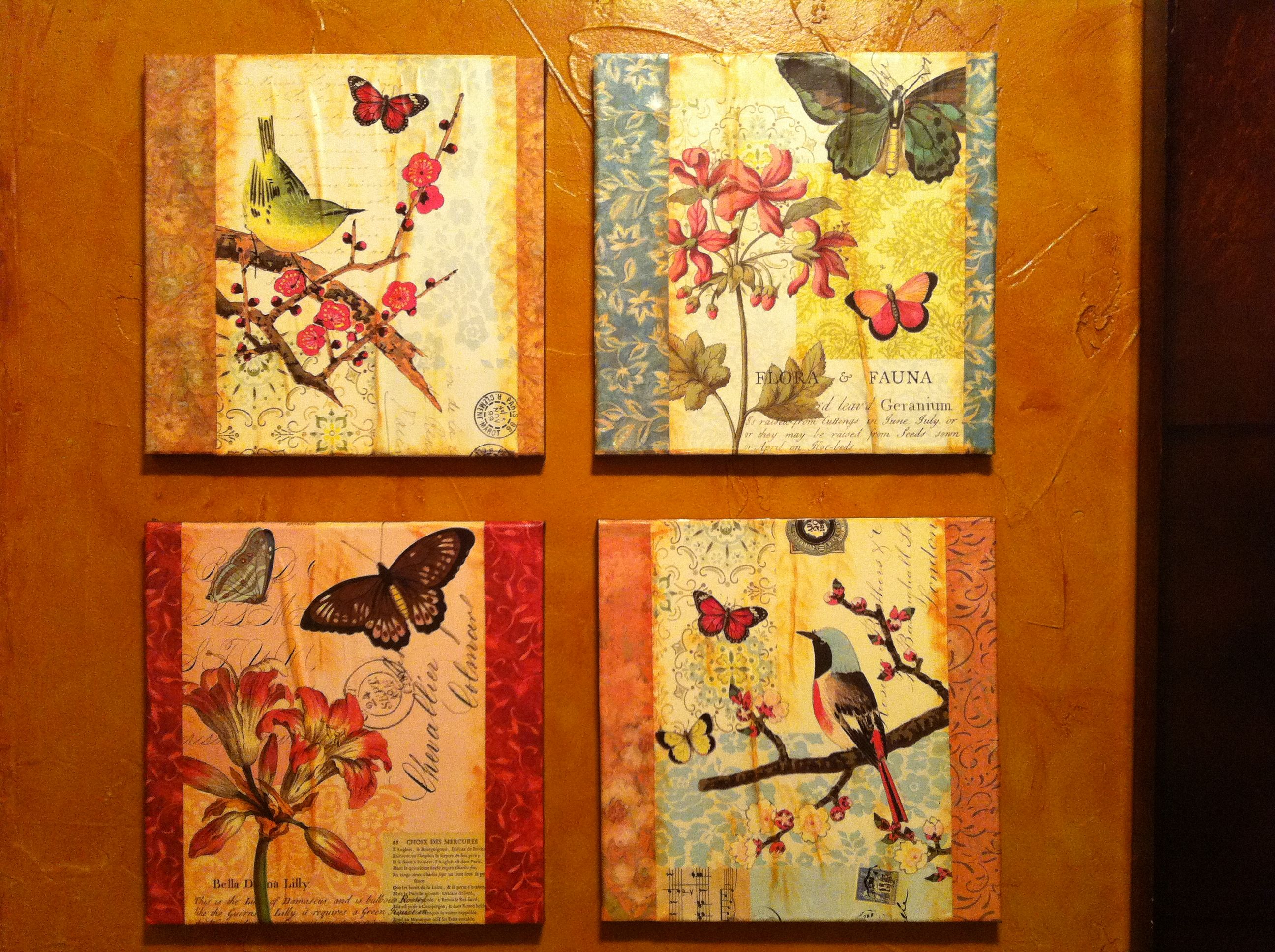 Make your own wall art! Made mine with 12x12 canvas, an old ...