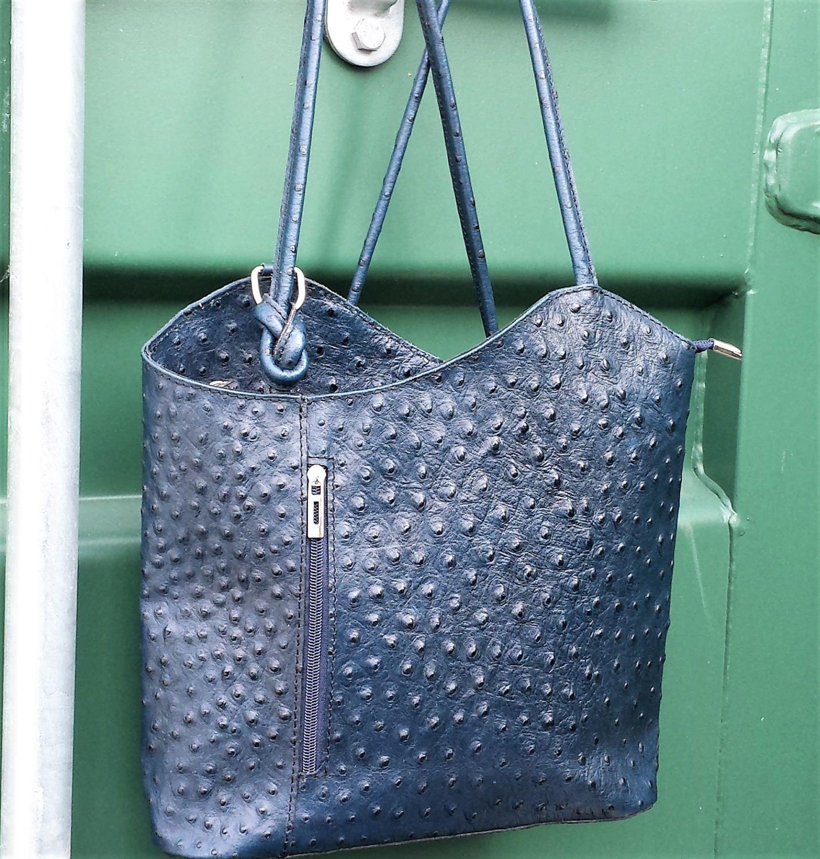 6d6b7f3b94ccb Blue Leather Backpack   Shoulder bag