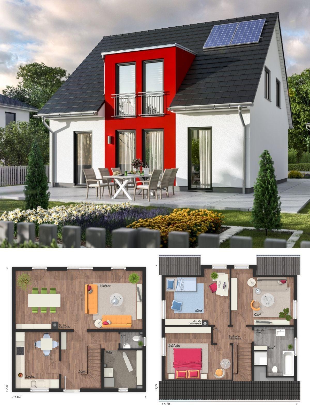 Modernes Massivhaus Grundriss Mit Satteldach Architektur