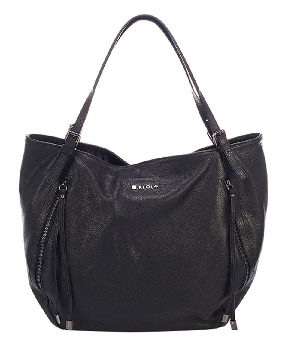 Another great find on #zulily! KROLE Black Leather Double-Zip Tote by KROLE #zulilyfinds