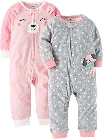 Carter s Baby Girls  2-Pack Fleece Footless Pajamas  1ed95df31