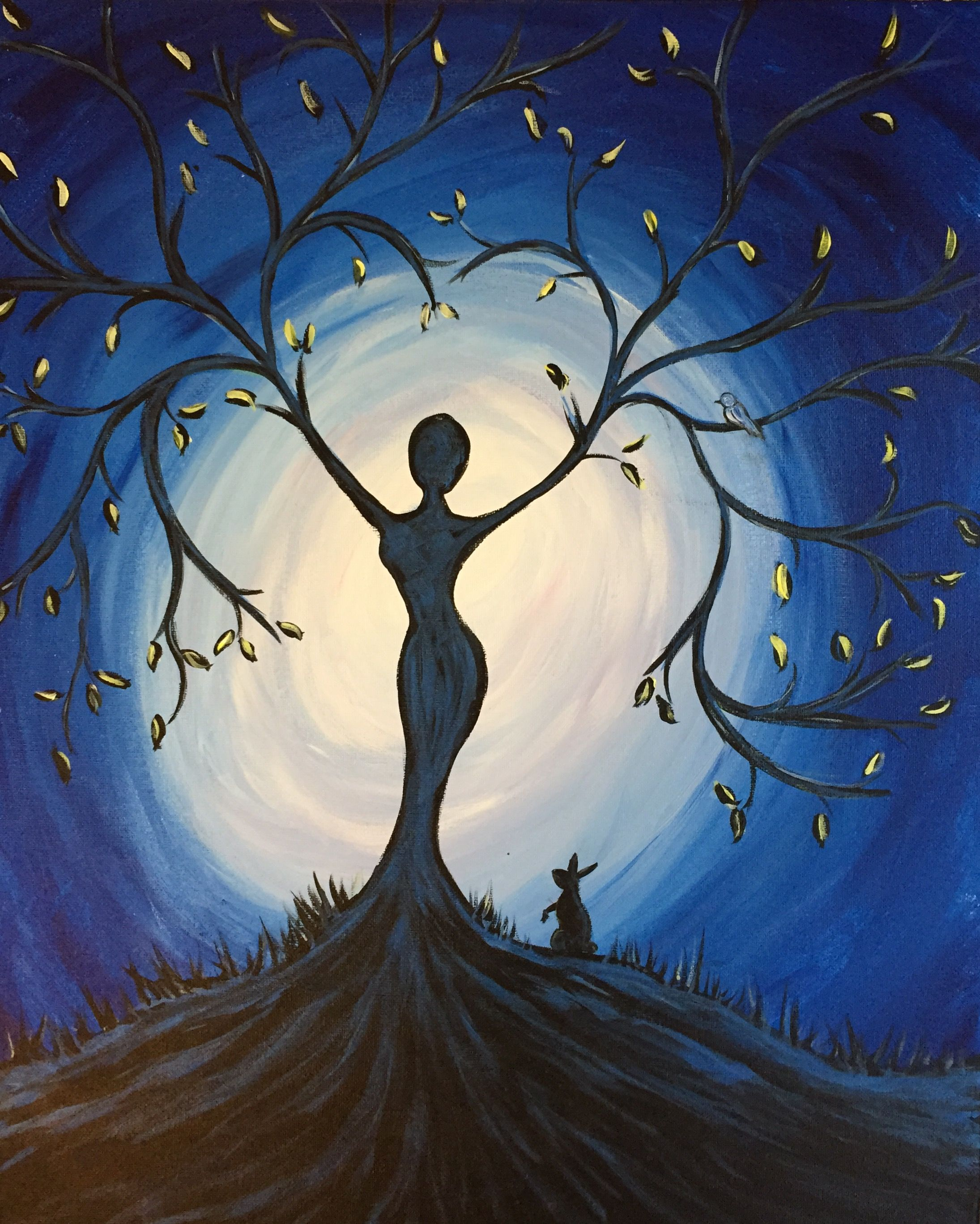Paint nite blue tree goddess use orlandovip at checkout for Acrylic mural paint