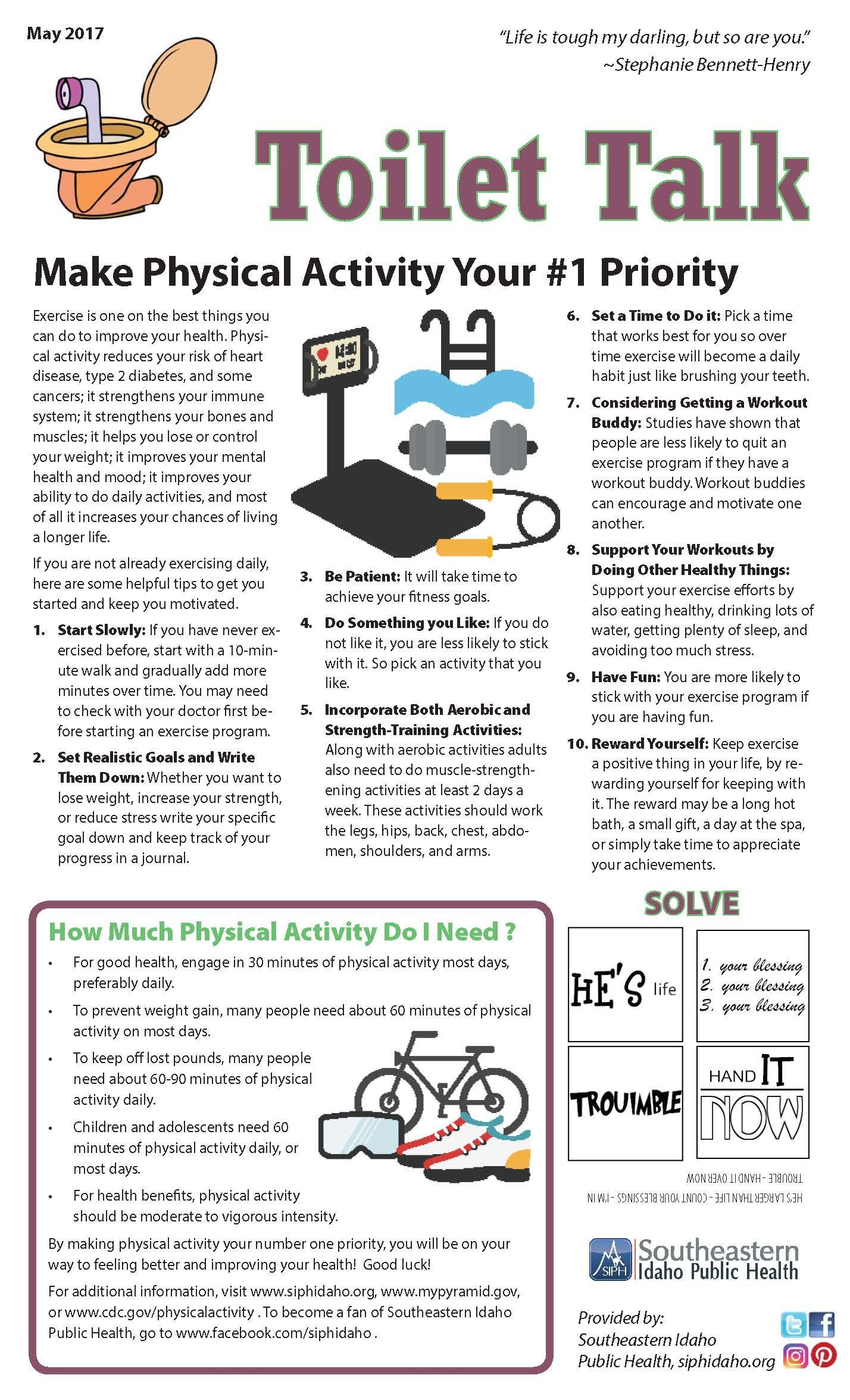 Make Physical Activity Your #1 Priority | Toilet Talk | Pinterest ...