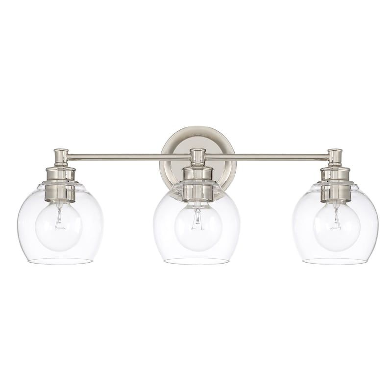 "Photo of Capital Lighting 121131PN-426 Nickel from Polished Nickel Mid-Century 3 Light 23-1 / 2 ""Wide Bathroom Vanity Light"