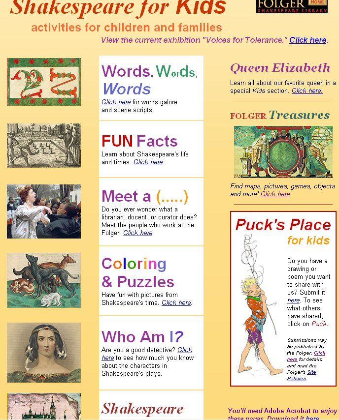 William Shakespeare For Kids Language Arts Pinterest