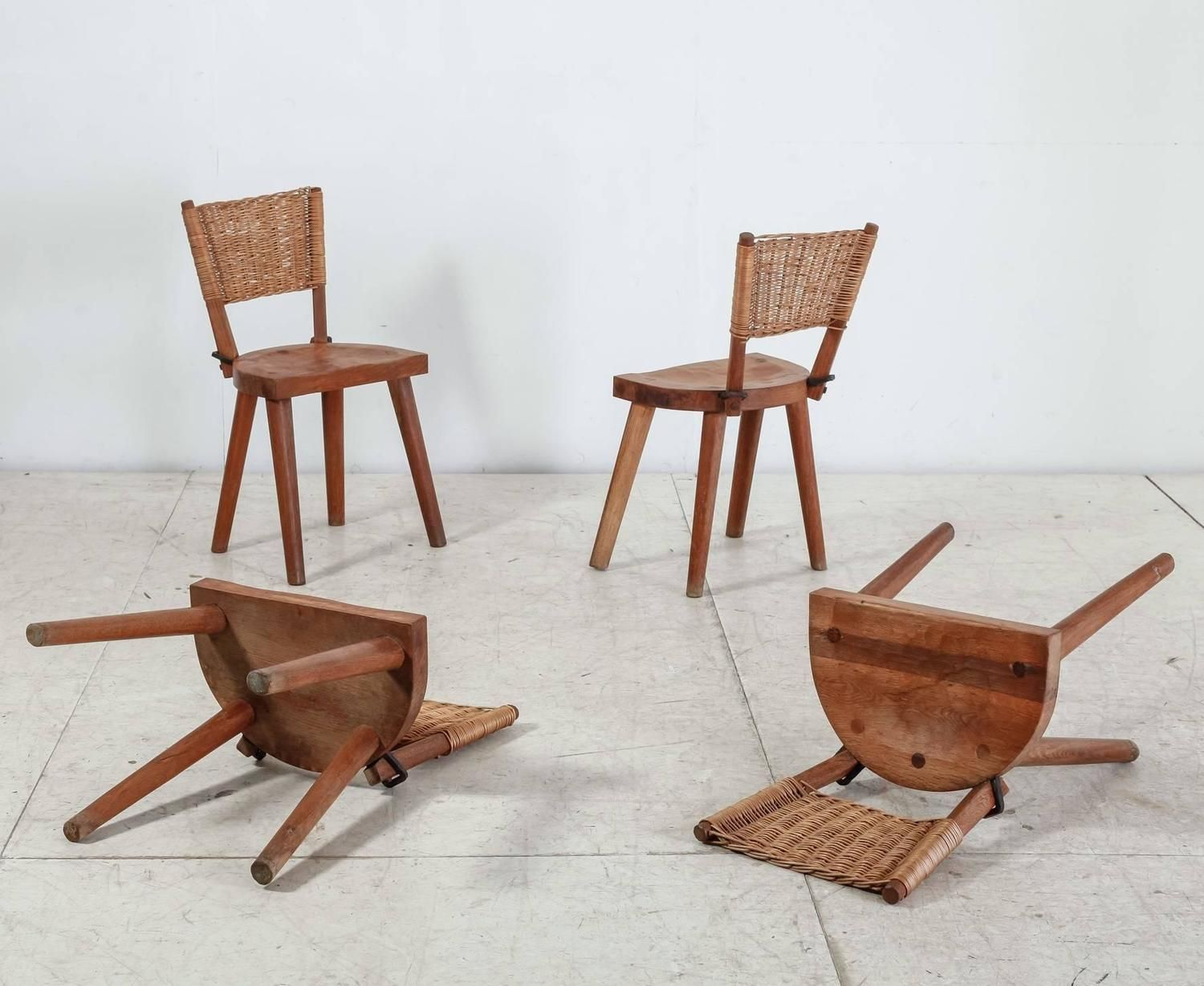 jean touret set of four oak and cane dining chairs for marolles