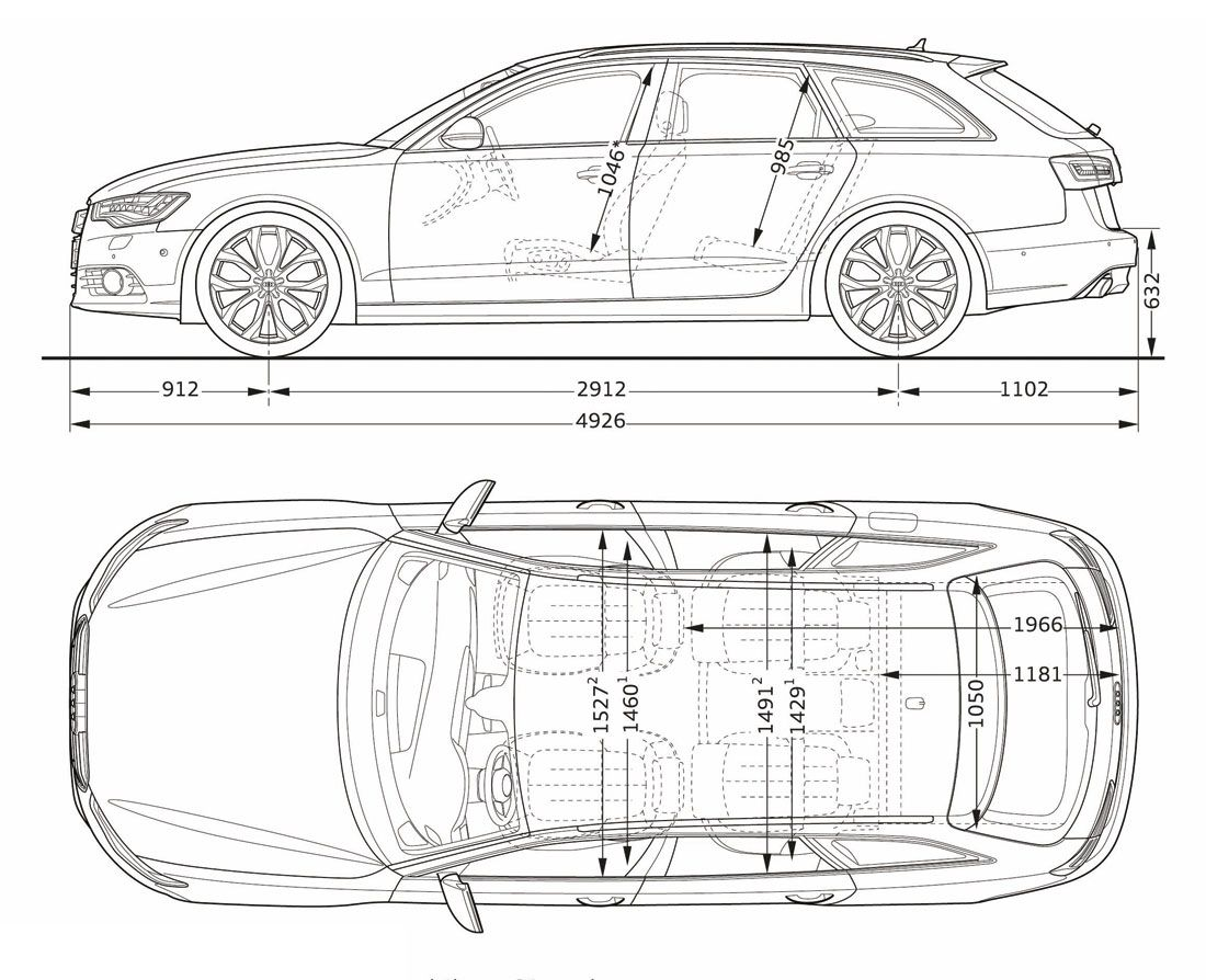 2017 Audi A6 Avant Side And Top Dimensions