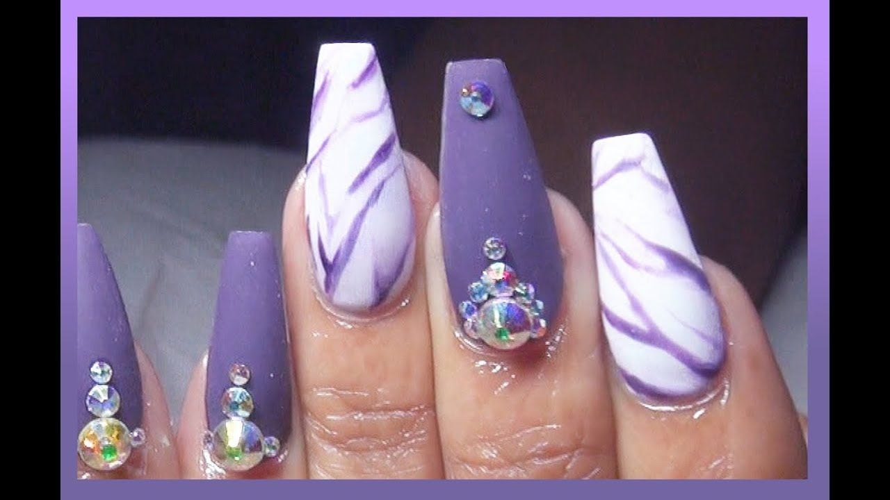 HOW TO: Matte Eggplant Marble Acrylic Nails Full Set | Items Review ...