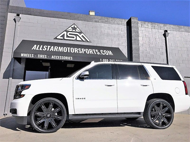 White Chevy Tahoe 24x9 5 Dub S227 Stacks Gloss Black Milled Full Side Angle