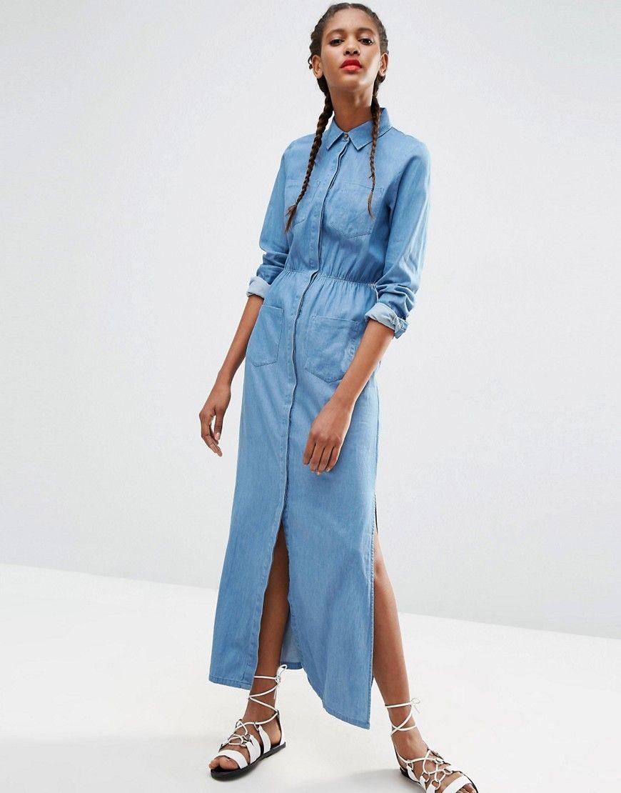 d3aef8b107b ASOS Denim Maxi Shirt Dress in Light Blue Wash
