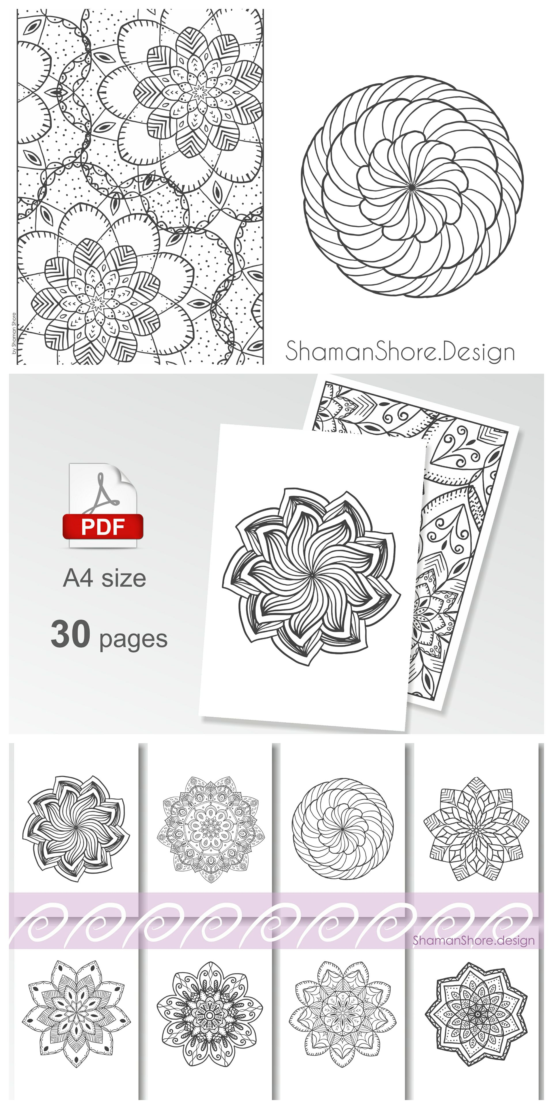 Mandala Coloring Pages For Grown Ups Printable Advanced Book On Etsy Digital Download