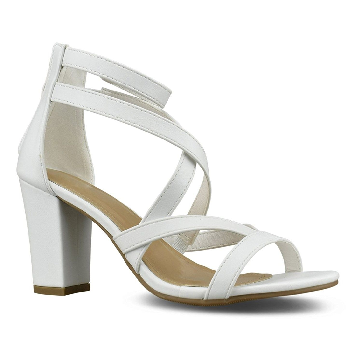 6c83413f08f6 Womens Strappy Open Toe High Chunky Heel - Sexy Stacked Heel Sandal ...