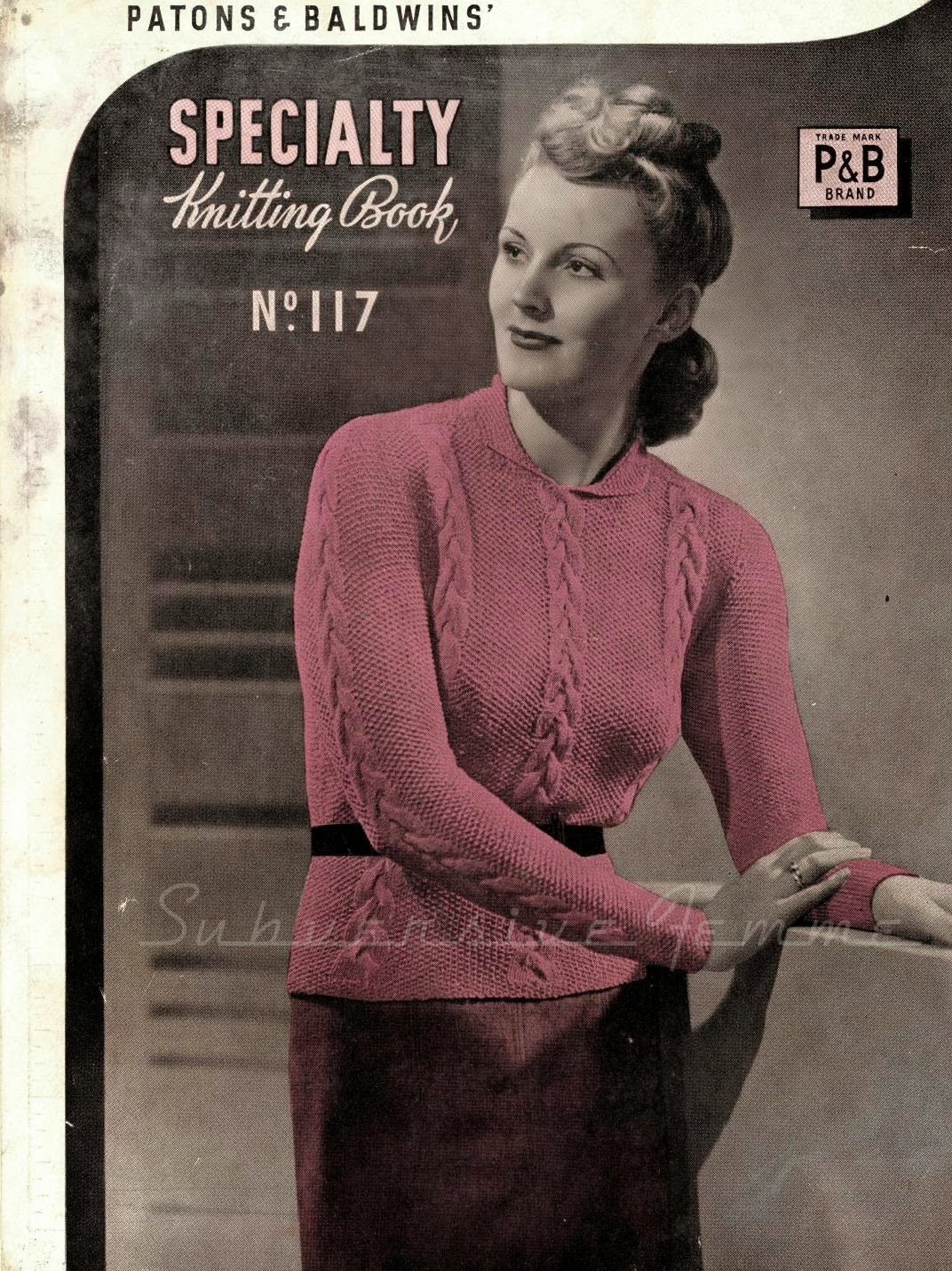 free vintage knitting pattern 1940s patons sweater jumper large size ...