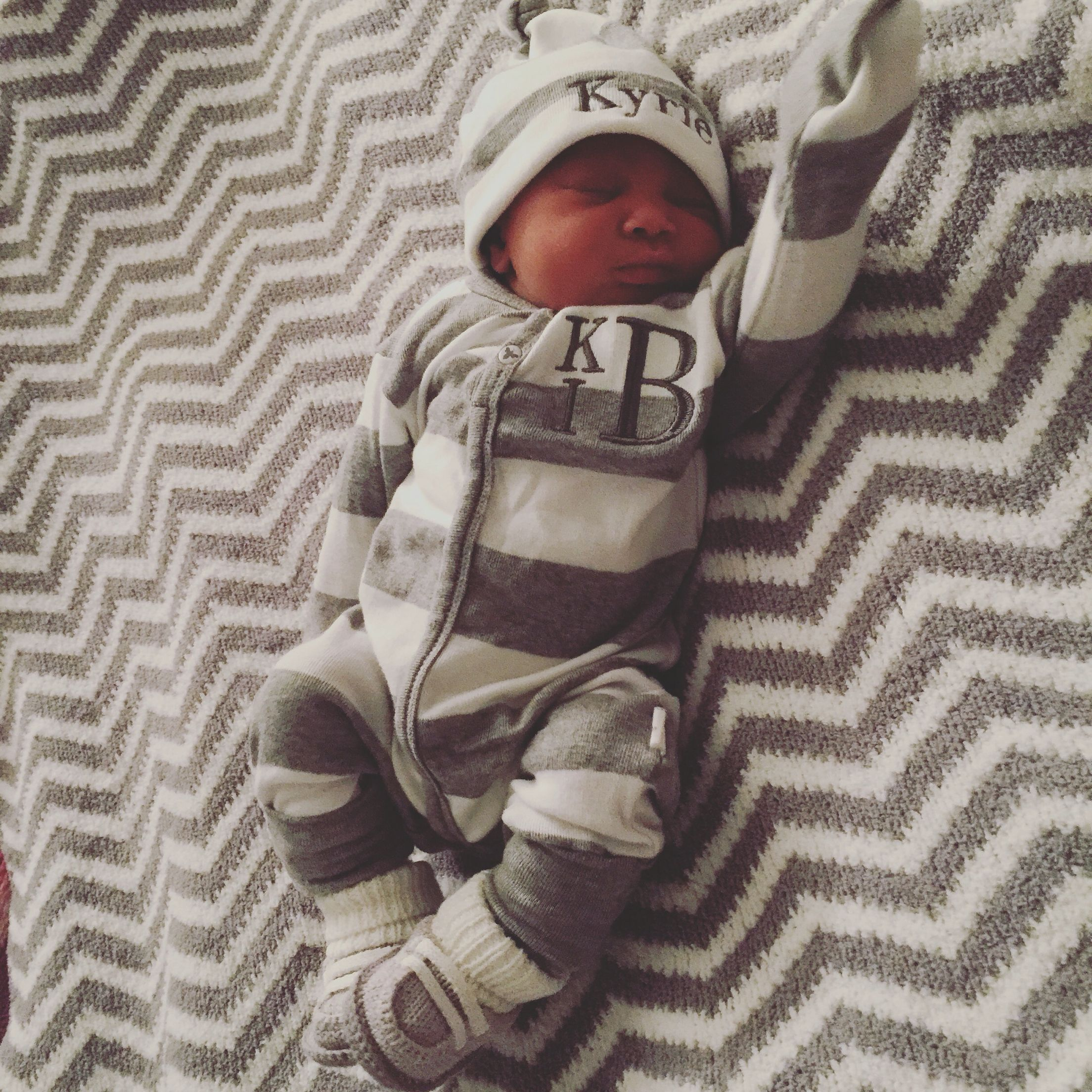 My newborn baby boy Kyrie Irving Baker in his coming home outfit from Twirly Bird Designs at ...