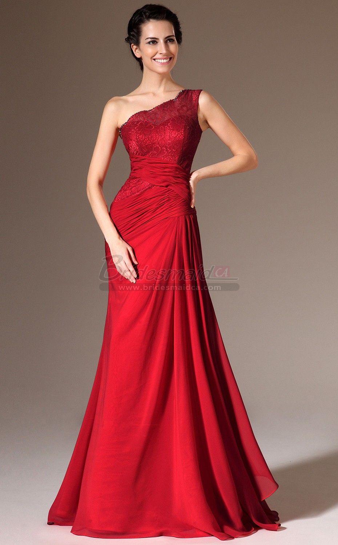 Red long chiffon and lace one shoulder mermaid bridesmaid dress jt