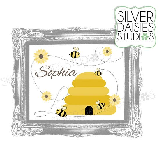 Personalized Printable Bumblebee Wall Art by SilverDaisiesStudios ...