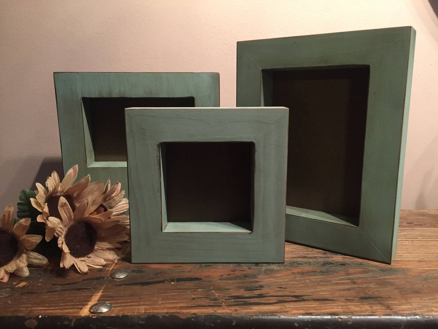 This listing is for one 1 rustic wooden frame in our rustic aqua rustic aqua blue wooden frame distressed wood frame thick self standing picture frame jeuxipadfo Gallery