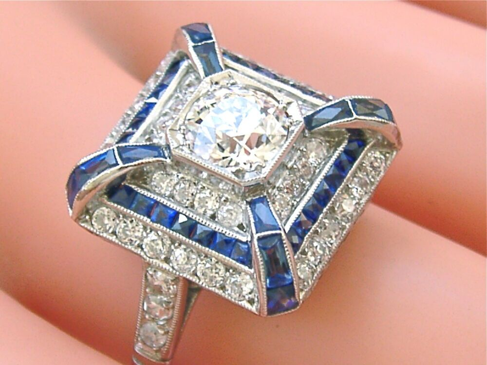 Antique art deco 103ct diamond sapphire cocktail ring